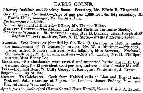 Description of Earls Colne from the Essex Almanac