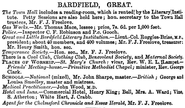 Description of Great Bardfield from the Essex Almanac