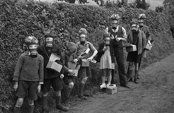 1939 Children wearing gas masks