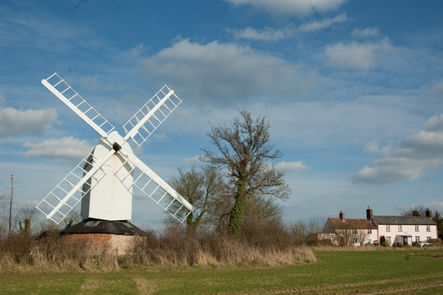 white windmill with sails - exterior