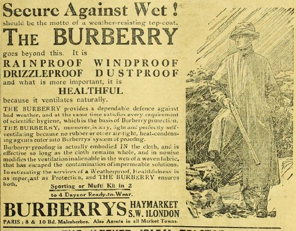 advertisement for Burberry products