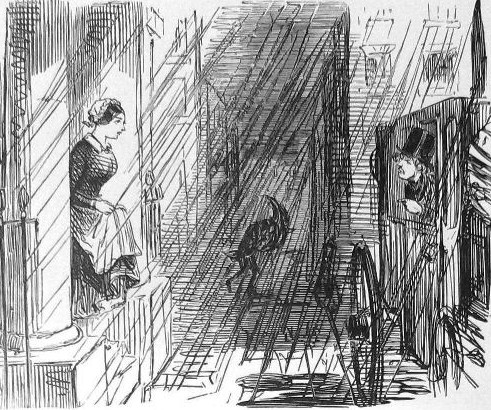 raining. man in a carriage, and a servant in the doorway