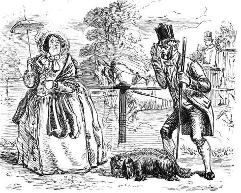lady, a dog and a servant