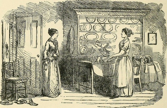 servants and her lady in the kitchen