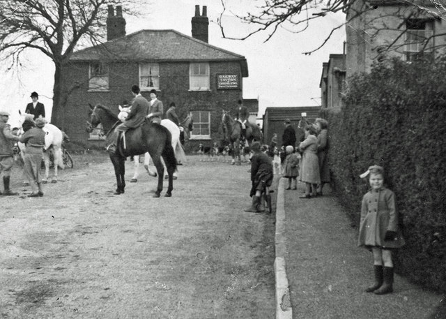 horses and riders outside the Railway Tavern