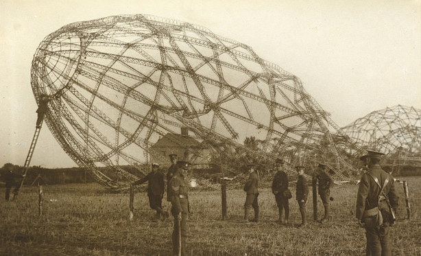 remains of a crashed zeppelin
