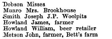 Bardfield Saling 1895 directory - list of names