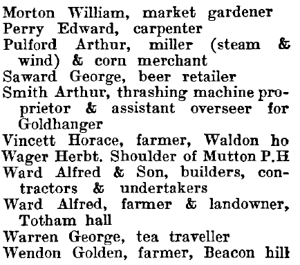 Great Totham 1895 directory - list of names