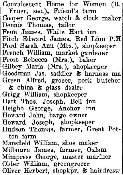 Great Wakering 1895 directory - list of names
