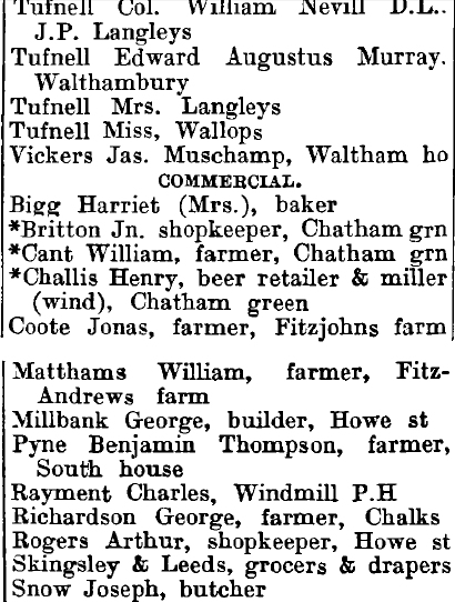 Great Waltham 1895 directory - list of names