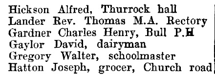 Little Thurrock 1895 directory - list of names