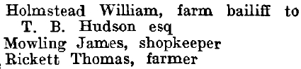 Little Wakering 1895 directory - list of names