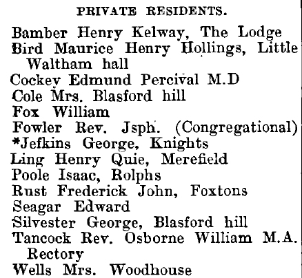 Little Waltham 1895 directory - list of names
