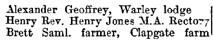 Little Warley 1895 directory - list of names