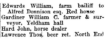 Little Yeldham 1895 directory - list of names