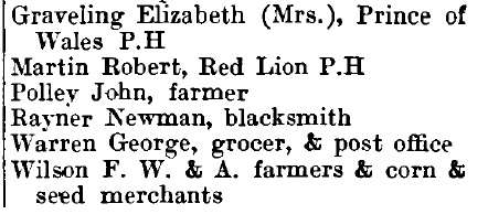 Marks Tey 1895 directory - list of names