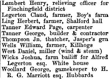 Shalford 1895 directory - list of names
