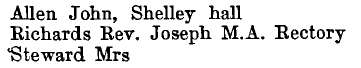 Shelley 1895 directory - list of names
