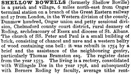 Shellow Bowells 1895 directory - list of names