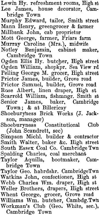South Shoebury 1895 directory - list of names