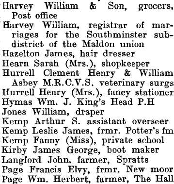 Southminster 1895 directory - list of names