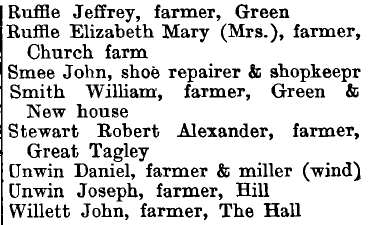 Stambourne 1895 directory - list of names