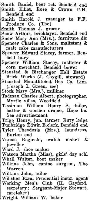 Stansted Mountfitchet 1895 directory - list of names