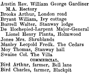 Stanway 1895 directory - list of names
