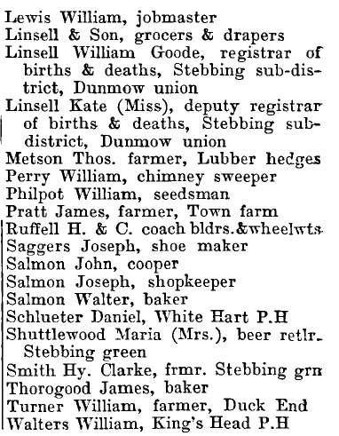 Stebbing 1895 directory - list of names