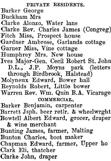 Steeple Bumpstead 1895 directory - list of names