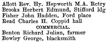 North Stifford 1895 directory - list of names