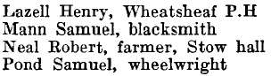 Stow Maries 1895 directory - list of names