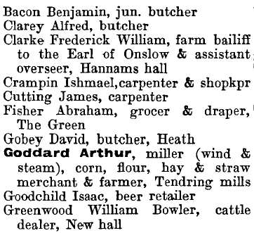 Tendring 1895 directory - list of names