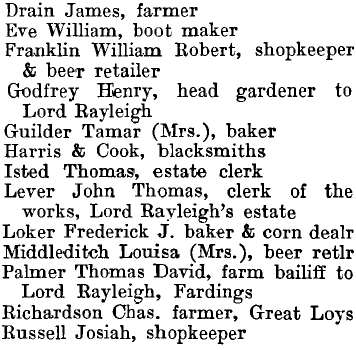 Terling 1895 directory - list of names