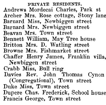 Thaxted 1895 directory - list of names