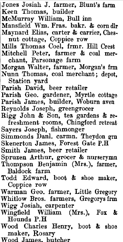 Theydon Bois 1895 directory - list of names