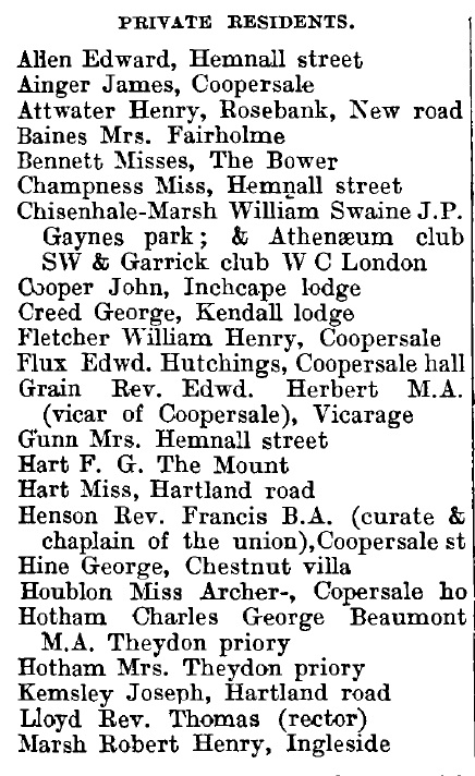 Theydon Garnon 1895 directory - list of names