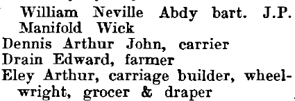 Tolleshunt Knights 1895 directory - list of names