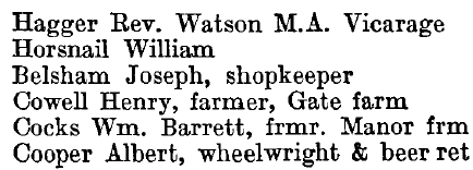 Tolleshunt Major 1895 directory - list of names