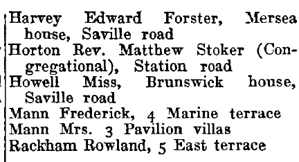 Walton-on-the-Naze 1895 directory - list of names