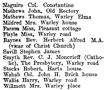 Great Warley 1895 directory - list of names