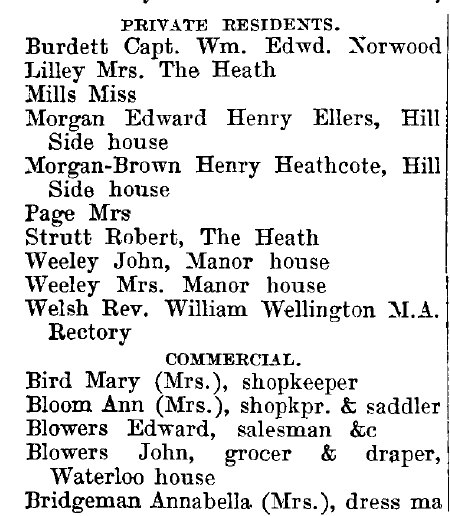 Weeley 1895 directory - list of names