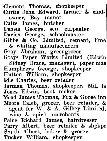 West Thurrock 1895 directory - list of names