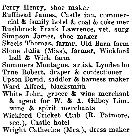 Wickford 1895 directory - list of names