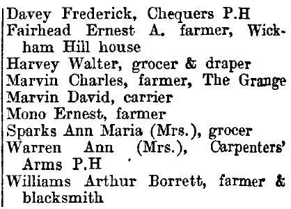 Wickham Bishops 1895 directory - list of names