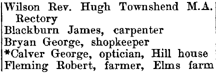 Widford 1895 directory - list of names