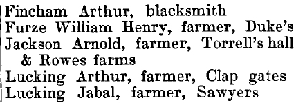 Willingale Doe 1895 directory - list of names