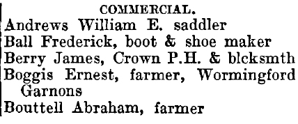Wormingford 1895 directory - list of names