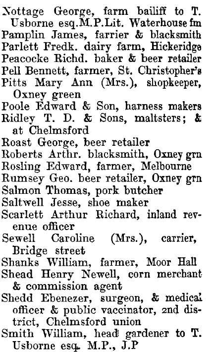 Writtle 1895 directory - list of names