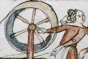 medieval drawing of spinning wool